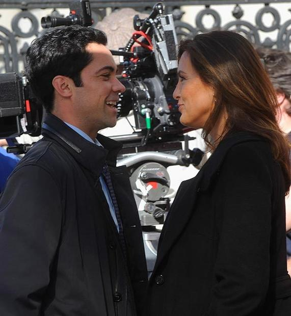 "Danny Pino and Mariska Hargitay on location for ""Law & Order: SVU"" in New York City."