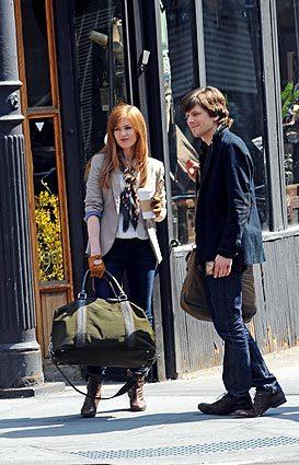 "Isla Fisher and Jesse Eisenberg on location for ""Now You See Me"" in New York City."