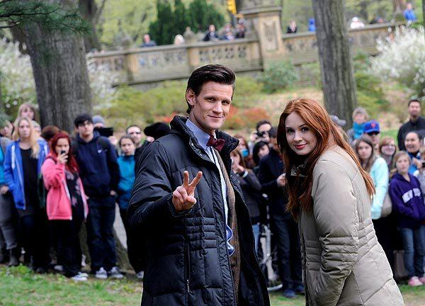 "Matt Smith and Karen Gillan on location for ""Doctor Who"" in Central Park, New York City."