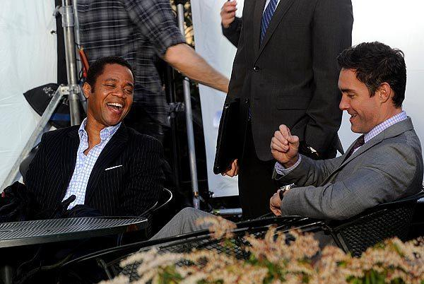 "Cuba Gooding Jr., left, and Jay Harrington on location for ""Guilty"" in New York City."