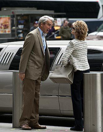 "Sam Waterston and Jane Fonda on location for the HBO series ""The Newsroom"" in New York City."