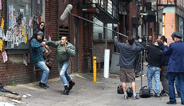 "Edgar Fox attacks Shawn Doherty on the set of ""Skinheads in Love"" in Boston."