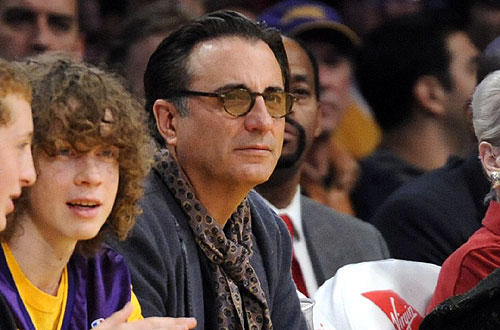 "Andy Garcia at  the <a href=""http://www.latimes.com/sports/la-sp-lakers-hornets2-2009dec02,0,2358235.story"">Lakers-Hornets</a>  game  at Staples."