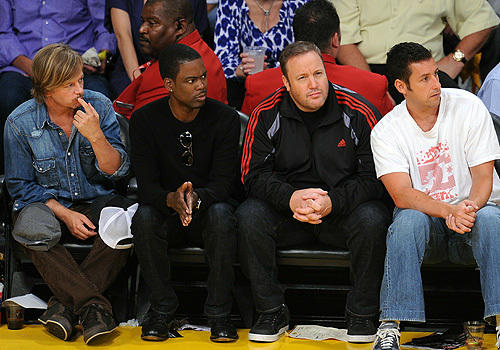 Fab four: From left, David Spade, Chris Rock, Kevin James and Adam Sandler  watch the Lakers-Celtics Finals Game 1 matchup.