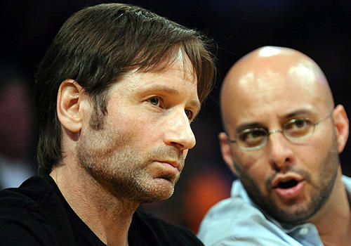 David Duchovny has the X-factor at Staples during Game 1 of  Lakers-Celtics Finals series.
