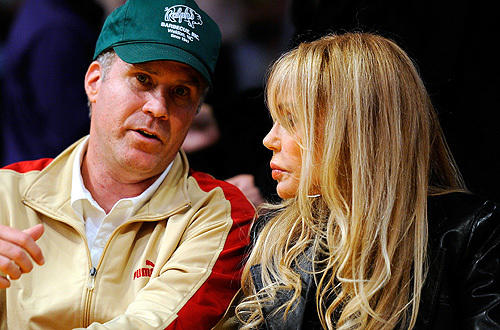 "Actor Will Ferrell and Lakers luminary Dyan Cannon talk during Game 5 of the  <a href="" http://www.latimes.com/sports/la-sp-plaschke-lakers-20100428,0,1933869.column"">Lakers-Thunder </a>   series at Staples."