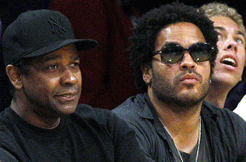 "Actor Denzel Washington, and recording artist Lenny Kravitz at the  <a href="" http://www.latimes.com/sports/la-spw-lakers-lamar-odom2-2010mar02,0,6976862.story"">  Lakers-Nuggets </a>  game at Staples Center."