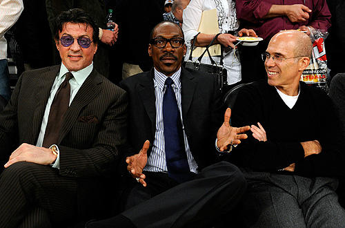 Eddie Murphy is flanked by Sylvester Stallone and Jeffrey Katzenberg during Game 5 of the Lakers-Thunder playoff matchup at Staples.