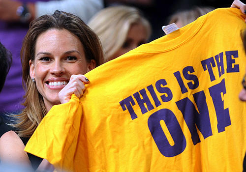 Hillary Swank is one big Lakers fan courtside at Staples during Game 1 of the Lakers-Celtics Finals series.