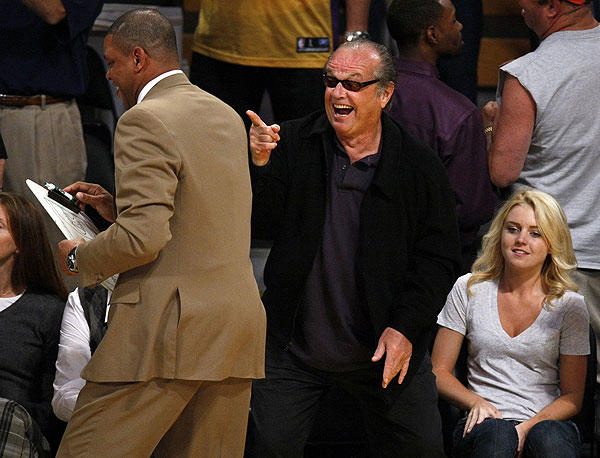 Jack Nicholson shares a laugh with Boston Celtics Coach Doc Rivers prior to the start of Game 3 of the 2008 NBA Finals.