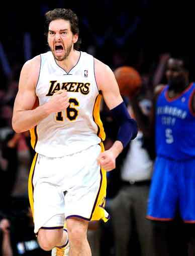Lakers power forward Pau Gasol reacts after scoring against the Thunder in overtime Sunday afternoon at Staples Center.