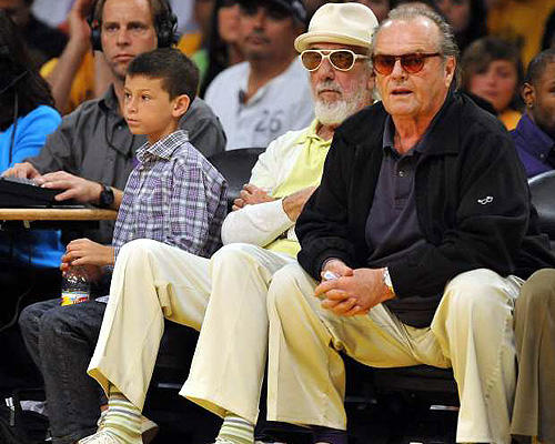 "JACK'S BACK: Music producer <a href=""http://travel.latimes.com/destinations/los-angeles/nightlife-spots/roxy""> Lou Adler</a>  and courtside staple Jack Nicholson catch the <a href=""http://www.latimes.com/sports/la-sp-lakers-jazz20-2009apr20,0,5871790.story"">Lakers-Jazz </a> playoff opener at Staples."