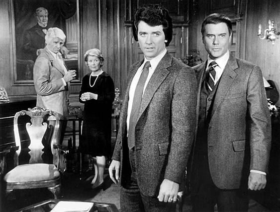 "Cast members from the CBS series ""Dallas,"" from left: Jim Davis, Barbara Bel Geddes, Patrick Duffy and Larry Hagman."
