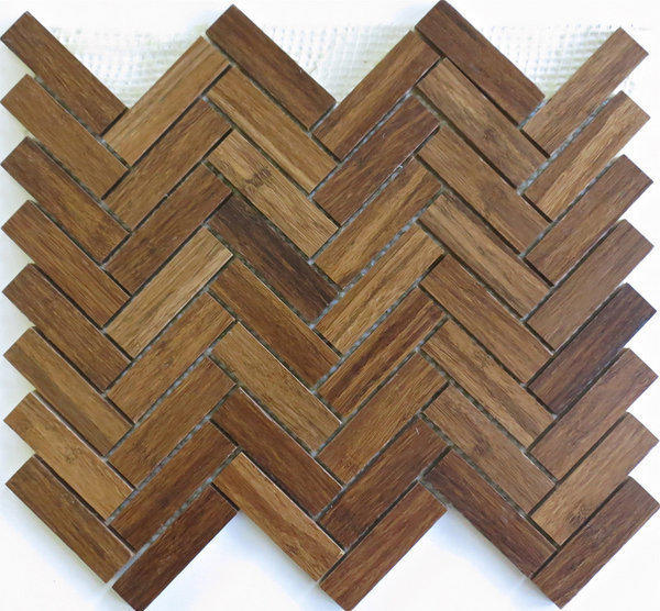 "<a href=""http://www.modwalls.com/harvestbamboomosaics.aspx"">Modwalls</a> sells sheets of mosaic tile featuring eco-friendly bamboo in different shades and shapes, including simple squares and this herringbone pattern."