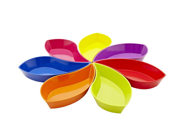 JCPenney has been touting revamped stores, and the housewares lineup has indeed improved. You'll find some familiar names such Danish modern manufacturer Bodum, as well as a renewed sense of freshness and fun. The latest collection includes this seven-piece pinwheel party bowl set from Zak Designs, $30.
