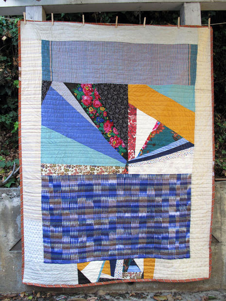 Pauline Boyd's handmade quilt is made with a wonderful mix of cotton and linen fabrics sourced from the U.S., Cambodia and Myanmar.  It measures 80 by 59 inches and is machine washable.  