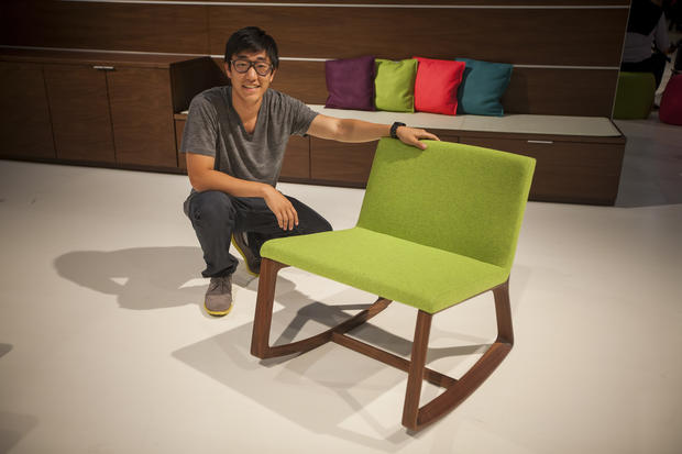 "Jonathan Wook Kim, a 22-year-old student at Art Center College of Design in Pasadena, shares the rocking chair he designed for Bernhardt Design. ""I wanted to make a lounge chair rocker for a collaborative work space,\"" he said. The Remix rocker will be available in September for $1,200."