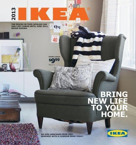 IKEA's new catalog for 2013 emphasizes textiles -- blankets, pillows, rugs and drapes -- as easy ways to update a room. The cover image features a 1951 IKEA chair updated with new pillows.