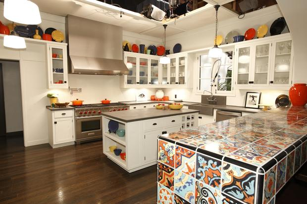 Production designer Tony Fanning added color to the kitchen with a mix of Bauer pottery -- some vintage collectibles and some newly produced pieces, including budget-priced seconds and damaged pieces whose flaws the cameras can't pick up.