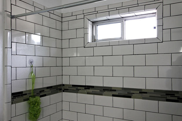 Subway tile in a shower.