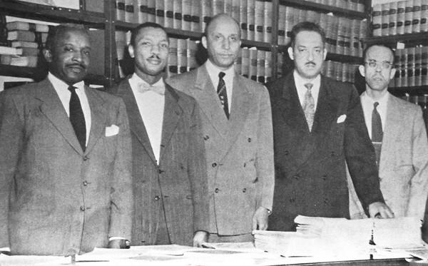 "Robert L. Carter was a civil rights lawyer who created the strategy used in cases that led to Brown vs. Board of Education, which ruled that school desegregation was unconstitutional. He was 94. Above, Carter, second from left, joins other attorneys in the  the NAACP Legal Defense and Educational Fund. Also pictured are, from left; Louis L. Redding; Oliver W. Hill; Thurgood Marshall and Spottswood W. Robinson III. <a href=""http://www.latimes.com/news/obituaries/la-me-robert-carter-20120106,0,1356837.story""><span class=""center_label"">Full obituary</span></a><br> <br> <a href=""http://www.latimes.com/news/obituaries/la-me-2011notables-gallery,0,155600.photogallery""><span class=""center_label"">Notable deaths of 2011</span></a>"