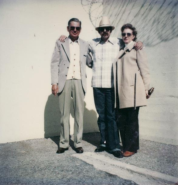 "Robert Griffin with his parents, E.R. ""Tug"" and Donna, at Chino prison."
