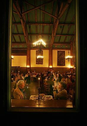 Visitors enjoy a meal in the Ahwahnee Dining Room in Yosemite National Park.