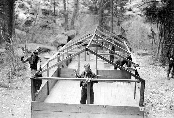 CCC workers take down a camp in Yosemite in 1935. Each enrollee signed on for a year at $30 a month.