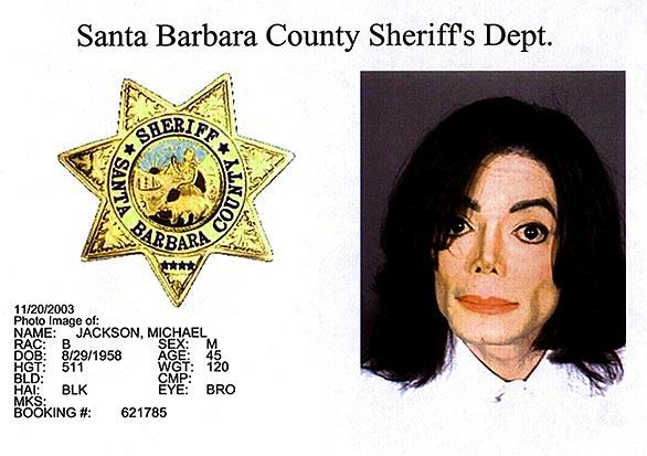 This booking photo released by the Santa Barbara County Sheriff's Department on Nov. 20, 2003, shows Jackson after being arrested and charged with multiple counts of child molestation.