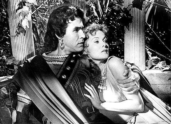 "Ricardo Montalban and Rhonda Fleming in the Italian movie ""Cortigiana di Babilonia"" (Queen of Babylon), 1956"