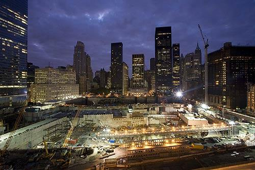 The World Trade Center site in New York is shown on the seventh anniversary of the attacks. Presidential candidates Sen. John McCain (R-Ariz.) and Sen. Barack Obama (D-Ill.) are scheduled to visit the site.