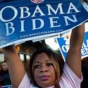 A woman supports U.S. President Barack Obama