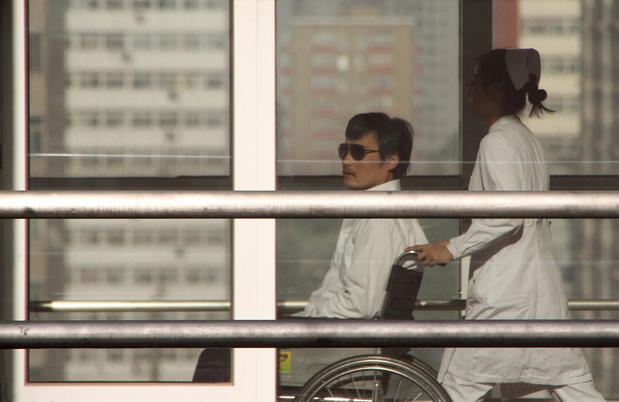 Chinese activist Chen Guangcheng at a hospital in Beijing before he was allowed to leave for the United States.