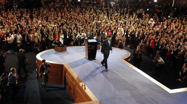 GOP presidential candidate Mitt Romney walks away from the podium after delivering his concession speech on election night in Boston.