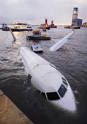 The Airbus 320 floats in the waters of the Hudson River in New York.