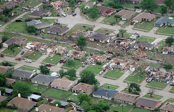 Homes were destroyed in Kennedale, Texas, after a tornado hit the area on Tuesday.