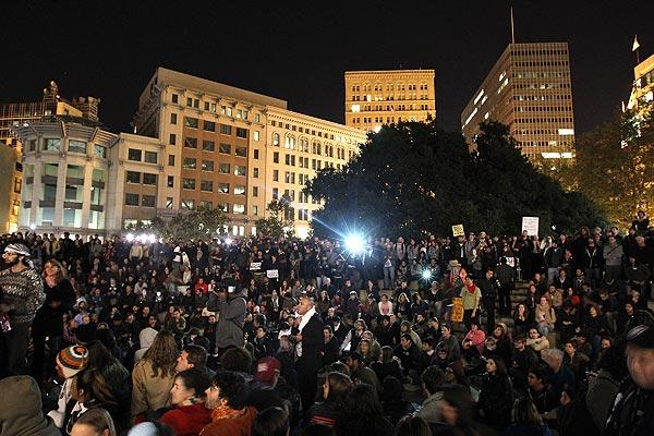 Protesters gather at Frank Ogawa Plaza on in Oakland on Wednesday night. Police are allowing protesters back into the plaza after the violence there Tuesday, with police firing tear gas into a crowd of hundreds of protesters associated with the Occupy Oakland movement.
