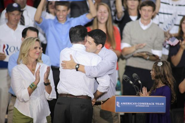 "Here's the full, 21st century man hug, as demonstrated by the Republican team: former Massachusetts Gov. Mitt Romney and his running mate, Wisconsin Rep. Paul Ryan, on Aug. 12.  <br><br> <p><strong>ALSO:</strong></p> <p><a href="" http://www.latimes.com/news/opinion/la-ol-joe-biden-on-the-campaign-trail-20120918,0,1756781.photogallery""><strong>PHOTOS:</strong> Joe Biden wants to hug ... everyone!</a></p>"
