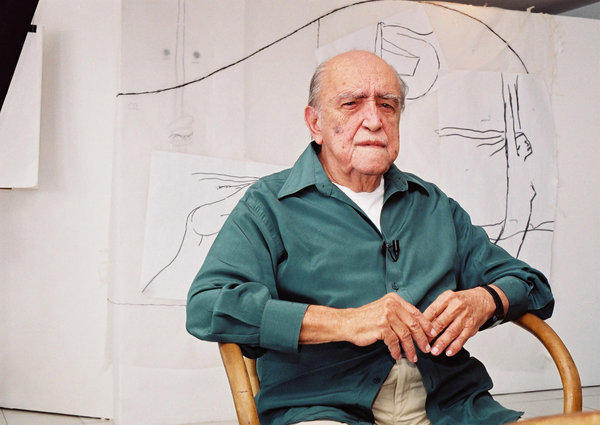 "Niemeyer, who loved curves in design and disliked right angles, shared architecture's Pritzker Prize in 1988. He designed the major buildings that form the heart of Brazil's capital, Brasilia. He was 104. <a href=""http://www.latimes.com/news/obituaries/la-me-oscar-niemeyer-20121206,0,554245.story"" class=""center_label"">Full obituary</a>  