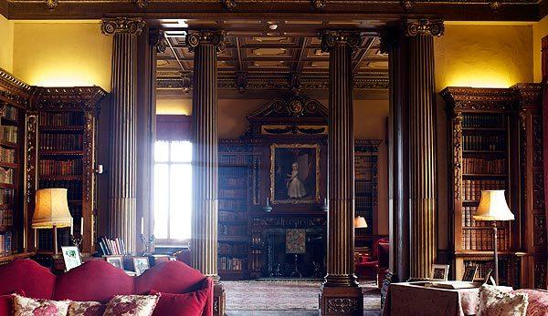 "NEWBURY, ENGLAND - MARCH 15: A detail of the library in Highclere Castle on March 15, 2011, in Newbury, England. Highclere Castle has been the ancestral home of the Carnarvon family since 1679. It has recently been made famous as the setting for the ITV series ""Downton Abbey"" starring Hugh Bonneville, Maggie Smith and Elizabeth McGovern."