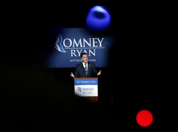 Mitt Romney speaks at a campaign fundraising event, the first of which reporters' cameras were allowed in, at the Grand America in Salt Lake City.