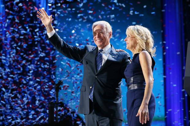 Vice President Joe Biden and Dr. Jill Biden stand on stage after the victory speech by President Obama on election night at McCormick Place in Chicago.