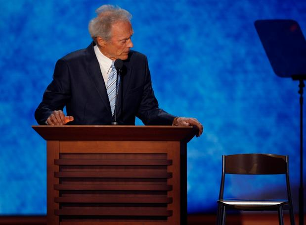 Clint Eastwood talks to a chair during a monologue at the Republican National Convention in Tampa, Fla.