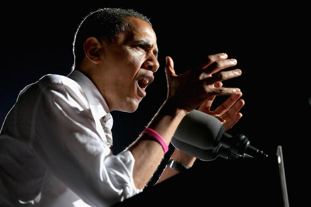 President Obama addresses a campaign rally in Cleveland.