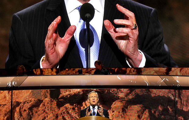 Senate Majority Leader Harry Reid of Nevada speaks during the opening night ceremonies of the Democratic National Convention in Charlotte, N.C.