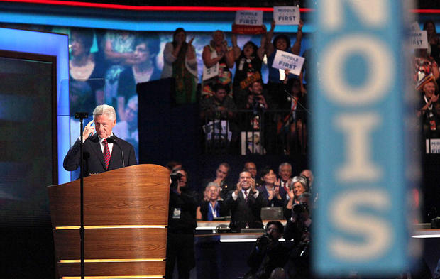 Former President Clinton speaks at the Democratic National Convention.