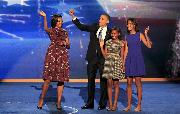 President Obama and family wave to the crowd at the Democratic National Convention.