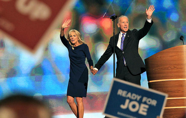 Vice President Joe Biden is joined onstage by his wife, Jill, after his speech at the Democratic National Convention.
