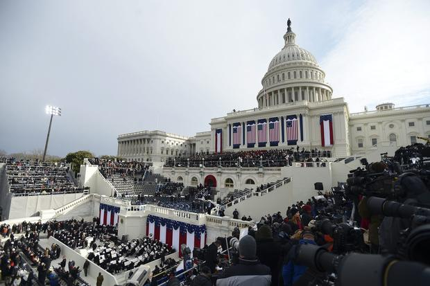 Crowds fill in the areas around the West Front of the US Capitol two hours before President Barack Obama is ceremonially sworn in for a second term as the 44th President of the United States.