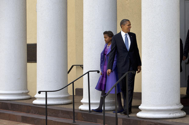 President Obama and his daughter Sasha leave St. John's Church in Washington after attending a service before his second presidential inauguration.